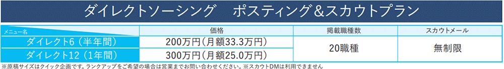 日経キャリアNETのダイレクトソーシングやポスティングのプラン・料金
